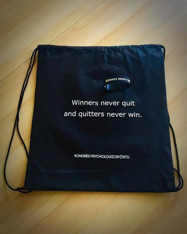 Worek sportowy Winners never quit and quitters never win - Kongres Psychologii Sportu
